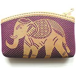Morado algodón Monedero con oro diseño de elefante