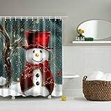 Hzjundasi Weihnachten Winter Snowkids Duschvorhänge 180x180cm Mehltau beständig Stoff Duschvorhang wasserdicht / wasse