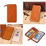DFV mobile - Executive Wallet Case with Magnetic Fixation and Zipper Closure for => BLUBOO X9 > Brown