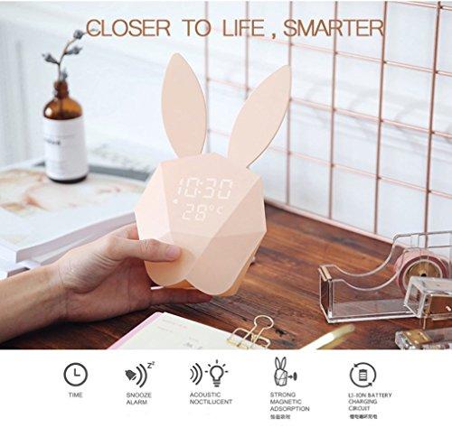 Conejo Pantalla digital Reloj despertador LED Luz