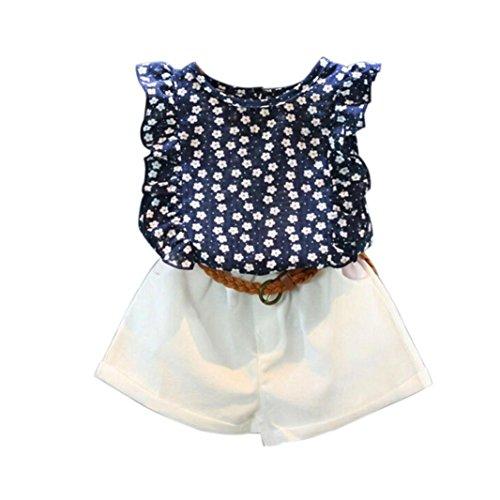 Ensembles de Bébé Fille,❤️ LMMVP ❤️ 3 PIÈCES Enfants en bas Age Petites Filles Été Ensemble de Vêtements T-shirt Tops + Pantalon Shorts (Mode marine, 100(3/4T))