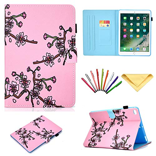 Pad Air 2/iPad Air, Uliking Smart Multi Angle Folio Stand PU Leder TPU Cover Karten/Stifthalter [Auto Wake/Sleep] Apple iPad 6./5.Gen,iPad Air 1/2 rosa 01# Pink Plum Blossom ()