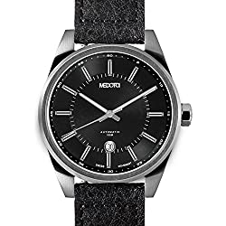 MEDOTA Grancey Men's Automatic Water Resistant Analog Quartz Watch - No. 2502 (Silver/Black)