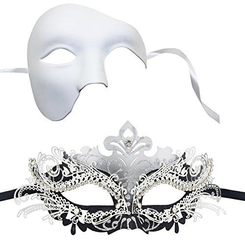 e Maske Set Venezianische Party Halloween Prom Maske (Weiß # 1) (Halloween-kostüme Für Schwarz Und Weiß Paar)