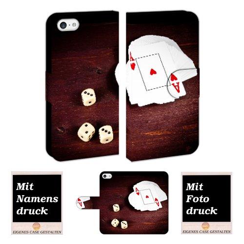 iPhone Handy Tasche Hülle eigenes Foto Bild Druck Schutzhülle Etui Case Print (iPhone 5/5S/SE, Spielkarten -Würfel) (Foto-würfel Für Iphone)