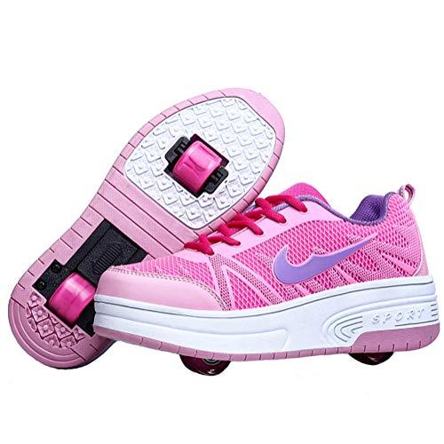 Charmstep Jungen Mädchen Skateboardschuhe Kinder Schuhe mit 1Rollen/2 Rollen Rollschuhe Sportschuhe Turnschuhe Laufschuhe Sneakers mit Rollen,Pink2,32EU