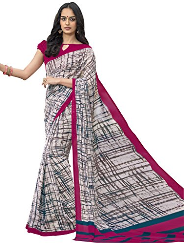 Saree (Vastrang Multicolor Georgette Printed Saree For Women)