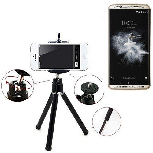 Smartphone Stativ für ZTE Axon 7. Dreibein / Tripod aus Aluminium, schwarz. Klemmstativ Stativ Adapter