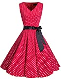 bridesmay 1950er Vintage Rockabilly V-Ausschnitt Kleid Retro Cocktailkleid Schwingen Kleid Faltenrock Red Small White Dot 4XL