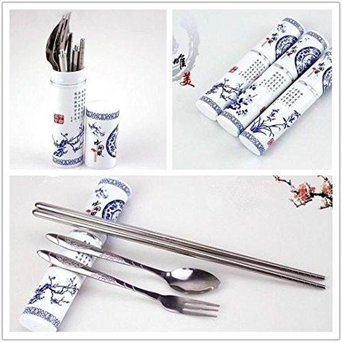Chinese style-set da tavola in porcellana, colore: blu e Bianco bacchette set di forchetta e cucchiaio