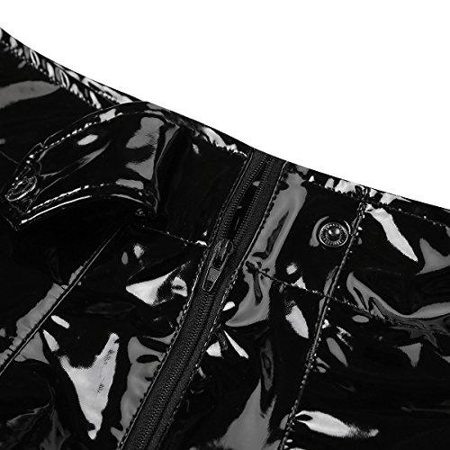 iEFiEL Herren Boxershorts Unterhose Slip Pants Hipster Lack Leder Wetlook Männer Unterwäsche schwarz M L XL XXL (XXL, Schwarz Boxershorts (Lang)) - 6