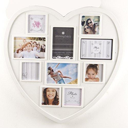 """Marco de fotos mural efecto """"collage"""" con forma de corazón - color blanco - capacidad 10 fotos."""