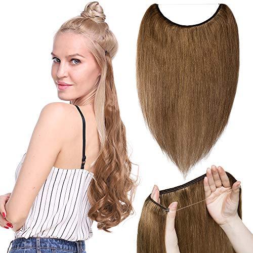 Remy Haarteile (TESS Extensions Echthaar Haarteile günstig 1 Tresse Remy Haarverlängerung mit Draht Haarverdichtung Glatt 16