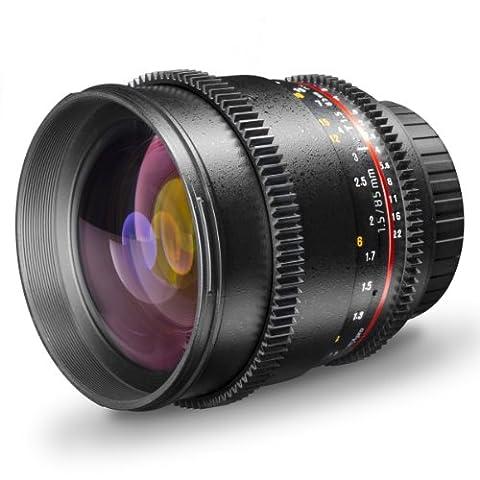 Walimex Pro 85mm 1:1,5 VDSLR Video- und Fotoobjektiv für Canon EF Objektivbajonett schwarz (manueller Fokus, für Vollformat Sensor gerechnet, für 4K geeignet, IF, inkl. Schutzdeckel und Objektivbeutel)