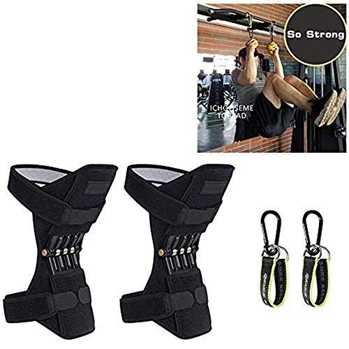 Direkte Mesh Shorts (ODRD- Kniestütze - Verstellbare Knieschoner - Power Lift Gelenkstütze Knieschoner Kraftvolle Rückprall-Federkraft Für Fitnessstudio Laufen Laufen (2X Kniestütze + 2X Verbindungsleine mit horizontal))