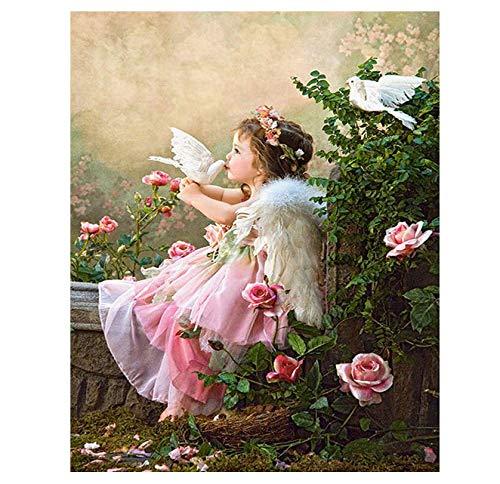 Ölfarbe Malen Nach Zahlen DIY Rahmenlose Mosaik Fairy Angel Home Decor Farbe Auf Leinwand Modern Für Home Arts 40x50cm - Angeln Home Decor