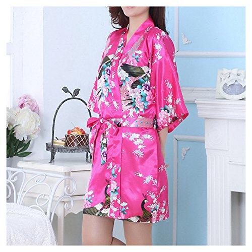 LQZ(TM) Femme Sexy Peignoir Kimono Soie Satin Courte Paon Fleur Exotique Robe Chambre Chemise de Nuit Rose