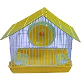 Jainsons Pet Products Playhouse/Cage for Dwarf Hamster/Gerbil/Mice with Exercise Wheel & Bowls for Water & Food (Yellow)