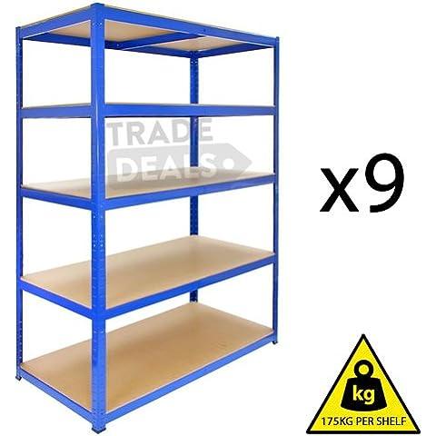 9 x Heavy-Duty Boltless deposito/Garage/Shed/casa/negozio commerciale,, Titan-Scaffale/Bay, 175 kg a mensola, colore: blu, 120 cm x 45 cm x 180 cm