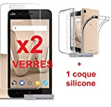 AccessOne® WIKO LENNY 4 ( ecran 5'' POUCES ) 2 Film Vitre Verre Trempé de protection ecran + 1 coque gel silicone