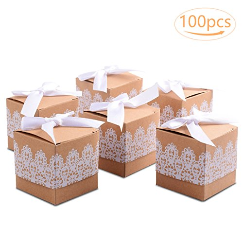 100 pezzi carta kraft scatola bomboniera scatolina portaconfetti segnaposto per matrimonio rustico compleanno battesimo