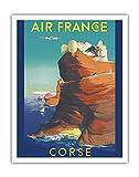 Corse - Air France - Bonifacio, France - Affiche Ancienne Vintage Companie aérienne Poster Aviation de Raoul Éric Castel c.1949 - Beaux-Arts Imprime Fine Art Print - 28cm x 36cm