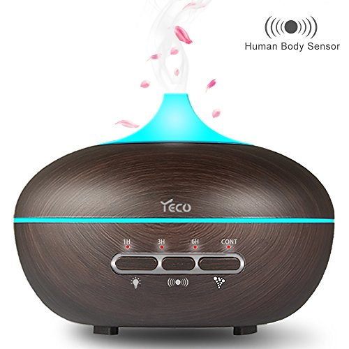 Essential Oil Diffuser, YECO Upgrade Ultrasonic Aromatherapy Aroma Diffuser Humidifier (Human Body Sensing, Up to 10H Use, Adjustable Cool Mist, 15 Color Lights Effects, Waterless or Rollover Auto-Off, Whisper-Quiet ) - Best Gifts for Her Fragrance Essential Oil Diffuser for Aromatherapy