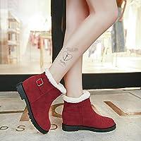 Botas de Nieve, Ásperas para Mujer con Botas Martin, Botas de Otoño E Invierno, Además de Botas de Mujer de Terciopelo,rojo,38