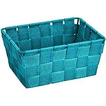 Wenko Adria - Cesta para el baño y el hogar de forma alargada, material plástico tejido, de tamaño mini, 19 x 9 x 14 cm, color petróleo