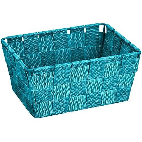 Wenko Adria - Cesta para el baño y el hogar de forma alargada, material plástico tejido, de tamaño mini, 19 x 9 x 14 cm, color