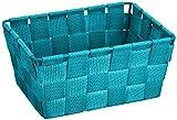 WENKO 20355100 Aufbewahrungskorb Adria Mini Petrol - Badkorb,  rechteckig,  Kunststoff-Geflecht,  Polypropylen,  19 x 9 x 14 cm