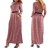 LazLake Damen Lange Kleid Kleider Sommerkleider Maxikleider Rundhals High Waist Q0357 Red XXXXL