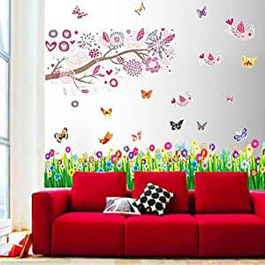 Walplus Wall Stickers Combo Huge Pink Birds Flowers Plus But Grass - Office Home Decoration, 170cm x 150cm, PVC, Removable, Transparent Borders, Self-Adhesive, Multi-Color