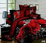 Prime Linen 3D Floral Rot Roses Bedruckte 4-teilig Bettwäsche-Set, Bettbezug Bettwäsche Set, 3D/Red Roses/242, Super King