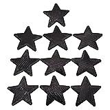 Kesheng 10x Aufbügler Bügelbilder Stern mit Pailletten Schwarz Textilien Dekor