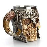 EisEyen Edelstahl 3D Schädel Tasse Becher Kaffeetasse für Getränke, Kaffee, Bier, Blut Saft,Viking Krieger Schädel Rüstung Drinkware Becher, Party Trick Weihnachten Cup