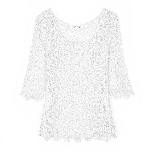 Cheerlife Elegant Damen Netzoberteil Netzshirt Sommertop Partytop Netzpullover Kurzarm Häkel Blumen Netz Pulli Spitze Shirt Top Weiß