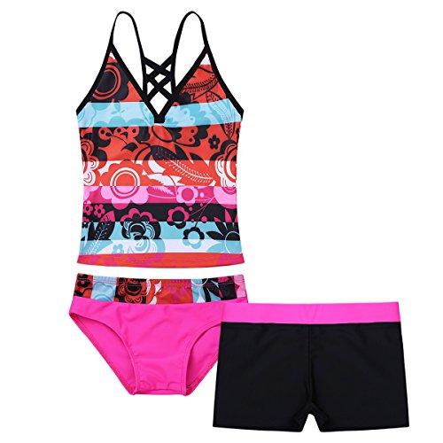 iiniim 3tlg.Kinder Mädchen Tankini Bikini Set Floral Print Bikini Tops+Briefs+Shorts Bademode Badeanzug Schwimmanzug Gr.104-176 Dunkel Rosa 176/16 Jahre - Floral Print Bikini Set