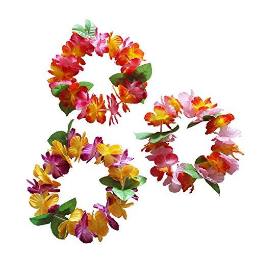 Stirnband Blume Leis Hawaii Blumen Kopfbedeckung Halsketten Girlanden für Moana Halloween Lilo Kostüm Luau Hawaii Strand Party Dekoration ()