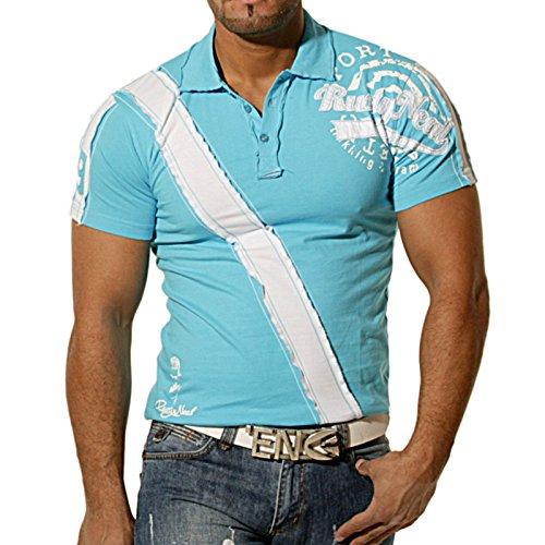 Rusty Neal Herren Kurzarm 2in1 Polo T-Shirt Slim Fit Poloshirt Hemd Weiß/Sch.437 Türkis/Weiß