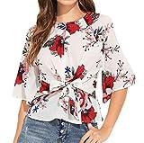 Simple-Fashion Freizeit Rundhals 3 4 Arm Bluse T-Shirt Frühling und Herbst Damen Oberteile Schöne Mode Druck Top mit Krawatte Hemden Tee Blouse