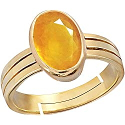 Gemorio Yellow Sapphire Pukhraj 6.5cts or 7.25ratti stone Panchdhatu Adjustable Ring For Men