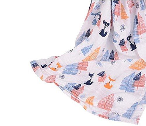 Finalhome 3 Pack Musselin Baby Wickeldecke Wrap Decken, 120 x 120 cm Bio Baumwolle Musselin Receiving Decke für Unisex Dusche Geschenk (Eule & Hirsch & Fuchs)