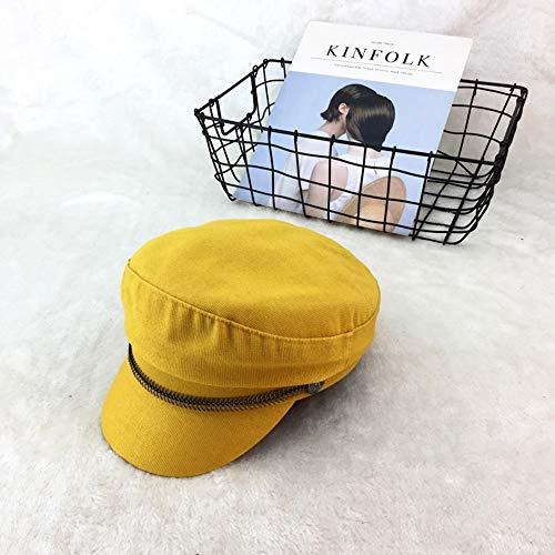 Maler-Hut-Weinlese-britischer literarischer achteckiger Hut-weiblicher Zeitungs-Junge im Freienbarett-japanische Kappe Hut (Farbe : Gelb)