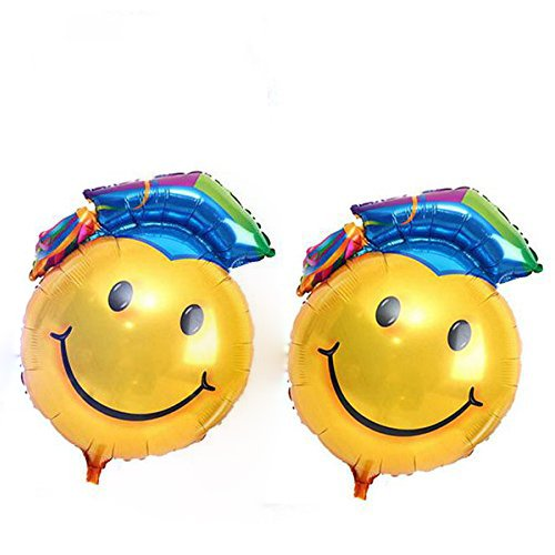 BIEE Graduación Globo decoración de globos Graduación de fiesta Suministros,2 piezas (cara sonriente azul, 68 * 48 cm)