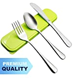 AckMond 3-Piece Stainless Steel Travel, Camping Cutlery Set (Green Case)