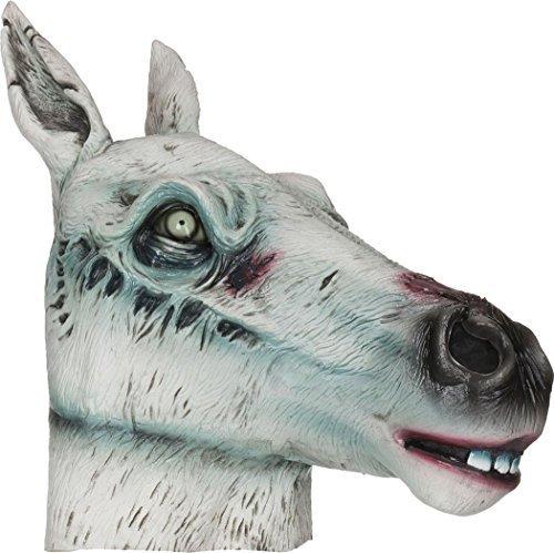 erschreckend Zombie Kostüm Party Zubehör mit Kapuze Gummimaske - Pferd Maske, One size, One size (Zombie-maske Pferd)