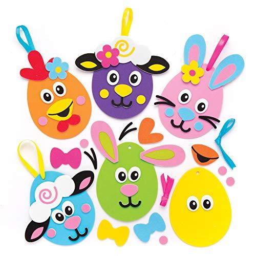 """Baker Ross Deko-Bastelsets """"Lustige Ostergesichter"""" (6 Stück) – Bastelidee zu Ostern für Kinder zum Gestalten und Dekorieren"""