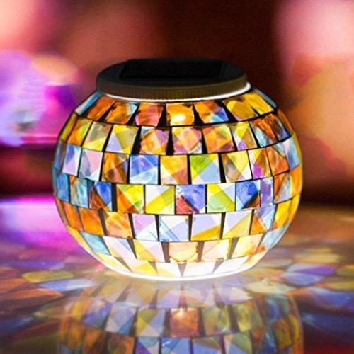 Upxiang Solar-Farbwechsel Lampe, Outdoor wasserdichte Solar Nacht Lichter, Mosaik Glas Tischlampe, Tischleuchten für Dekor Glas Glas, um kleine Werkzeuge, perfekt für Garten, Tische, Balkon, Schlafzimmer und Outdoor-Dekoration auf Party oder Alltag (B)