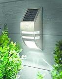 Solar Wandleuchte Hoflampe aus Edelstahl mit Lichtensor und Bewegungsmelder - sehr hochwertig verarbeitete Außenbeleuchtung Solar LED - perfekt als Sicherheitsbeleuchtung oder als Haustür Leuchte geeignet - aus Glas und Edelstahl , erhältlich in edelstahl matt gebürstet oder schwarz glänzend (matt gebürstet)